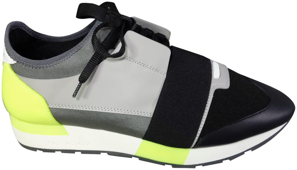 21d08adcbd7d8 Balenciaga Black White Grey Lime Race Runner Sport Walk Trainers New ...