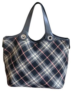 09340880be7d Burberry Blue Label Vintage Large Black Canvas Leather Tote - Tradesy
