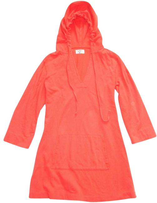 Item - Orange Coral Hooded Knit 3/4 Sleeve Beach Pool Cover-up S Short Casual Dress Size 6 (S)