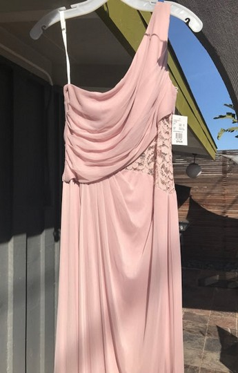 David's Bridal Cameo (Dusty Pink) Mesh Lace Never Worn One-shoulder Inset F19419 Formal Bridesmaid/Mob Dress Size 4 (S) Image 1