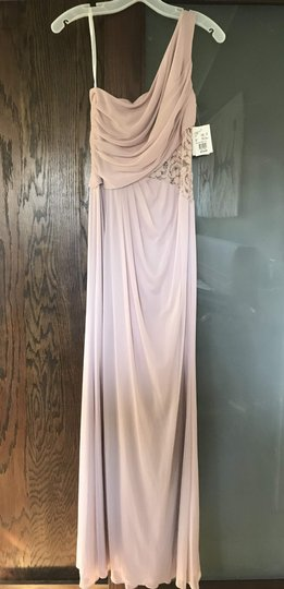 David's Bridal Cameo (Dusty Pink) Mesh Lace Never Worn One-shoulder Inset F19419 Formal Bridesmaid/Mob Dress Size 4 (S) Image 2