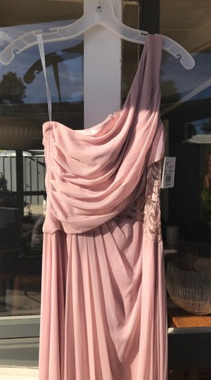 David's Bridal Cameo (Dusty Pink) Mesh Lace Never Worn One-shoulder Inset F19419 Formal Bridesmaid/Mob Dress Size 4 (S) Image 5
