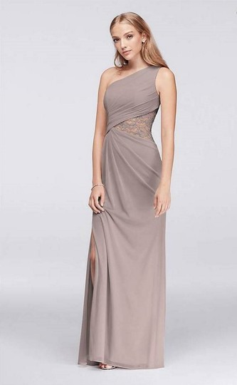David's Bridal Cameo (Dusty Pink) Mesh Lace Never Worn One-shoulder Inset F19419 Formal Bridesmaid/Mob Dress Size 4 (S) Image 6
