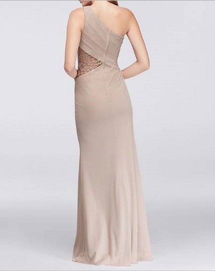 David's Bridal Cameo (Dusty Pink) Mesh Lace Never Worn One-shoulder Inset F19419 Formal Bridesmaid/Mob Dress Size 4 (S) Image 7