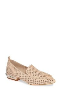 Jeffrey Campbell Leather Studded Loafers Perforated Nude Flats