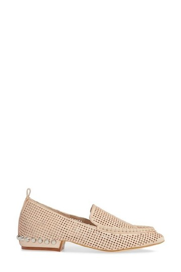 Jeffrey Campbell Leather Studded Loafers Perforated Nude Flats Image 2