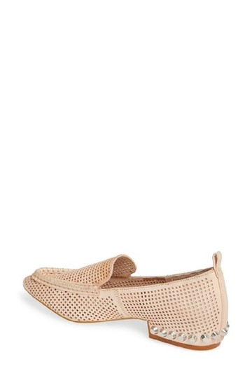 Jeffrey Campbell Leather Studded Loafers Perforated Nude Flats Image 4