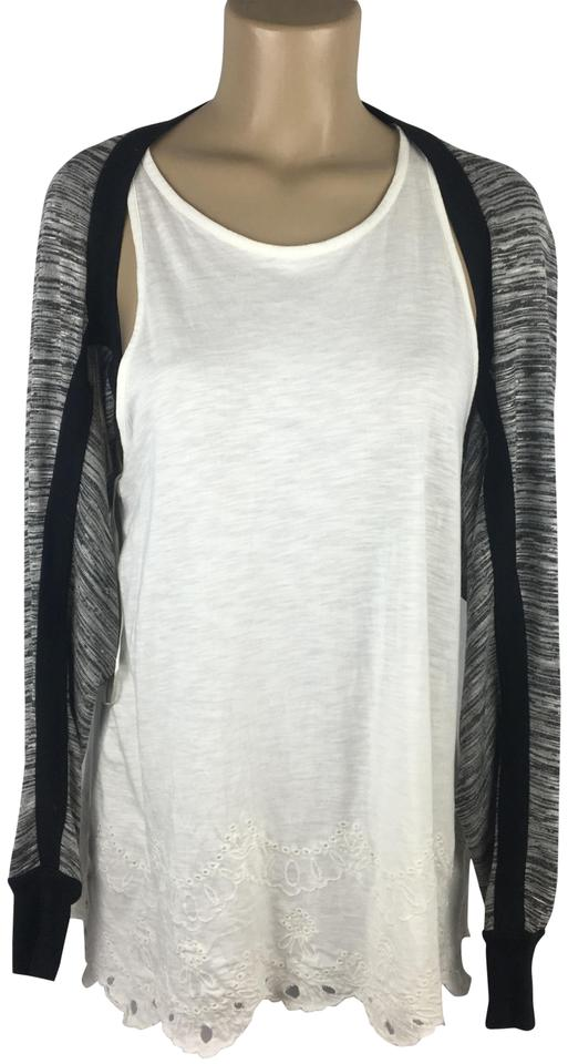 520e792f285 CAbi Gray & Black Knit Shrug Blouse Size 8 (M) - Tradesy
