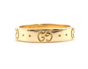 Gucci 18K yellow gold GG Guccissima logo classic iconic ring
