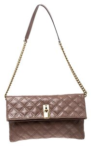 Marc Jacobs Leather Canvas Quilted Brown Clutch