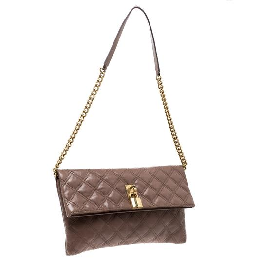 Marc Jacobs Leather Canvas Quilted Brown Clutch Image 3