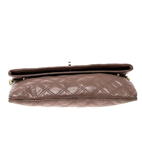 Marc Jacobs Leather Canvas Quilted Brown Clutch Image 4