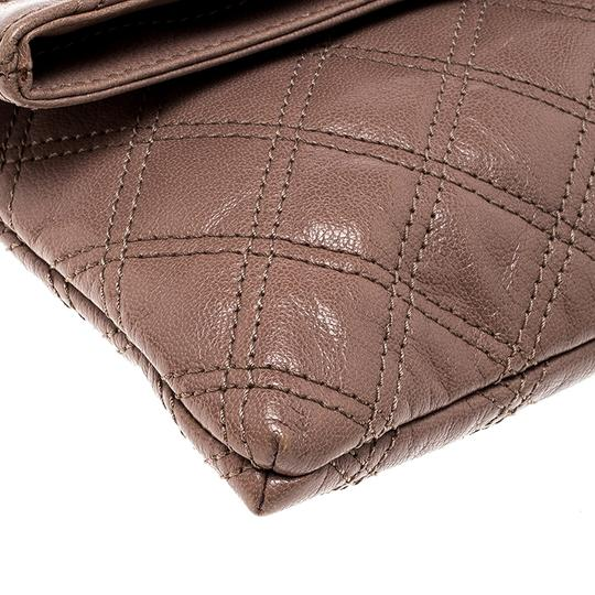Marc Jacobs Leather Canvas Quilted Brown Clutch Image 5