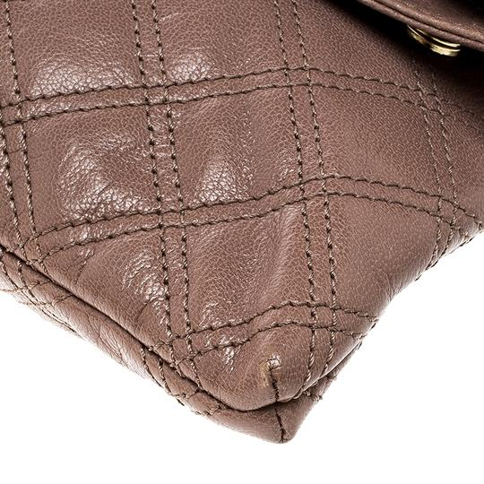 Marc Jacobs Leather Canvas Quilted Brown Clutch Image 6