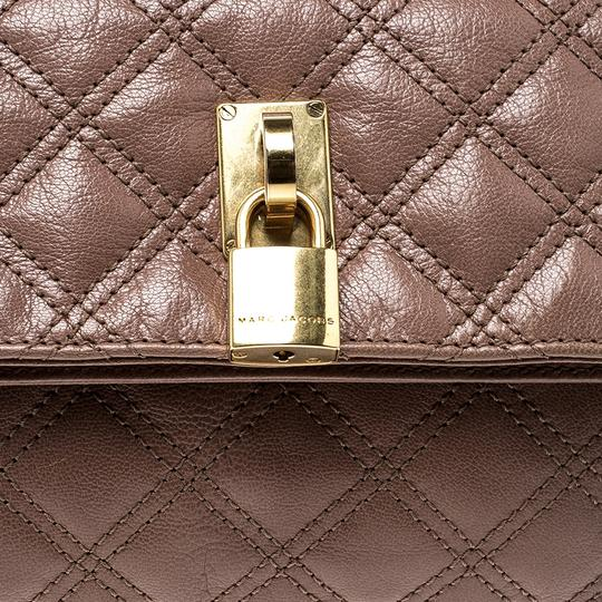 Marc Jacobs Leather Canvas Quilted Brown Clutch Image 9