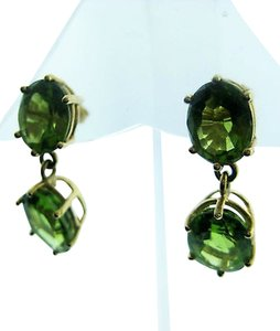 Fine Estate 18k Yellow Gold Green Stone Earrings