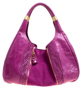 Jimmy Choo Leather Suede Perforated Hobo Bag