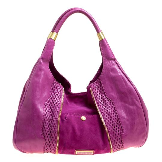 Jimmy Choo Leather Suede Perforated Hobo Bag Image 1