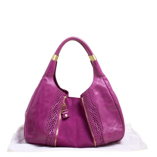Jimmy Choo Leather Suede Perforated Hobo Bag Image 10