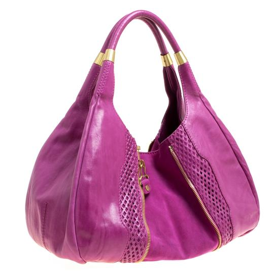 Jimmy Choo Leather Suede Perforated Hobo Bag Image 3