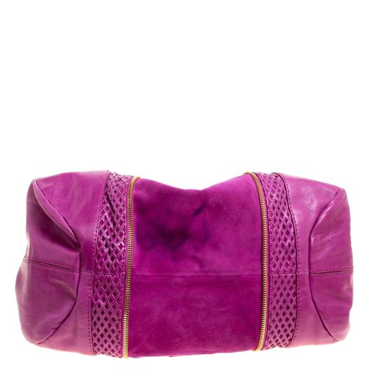 Jimmy Choo Leather Suede Perforated Hobo Bag Image 4