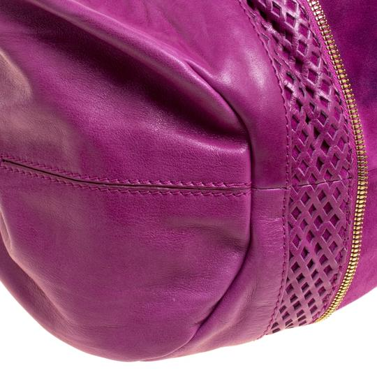 Jimmy Choo Leather Suede Perforated Hobo Bag Image 8
