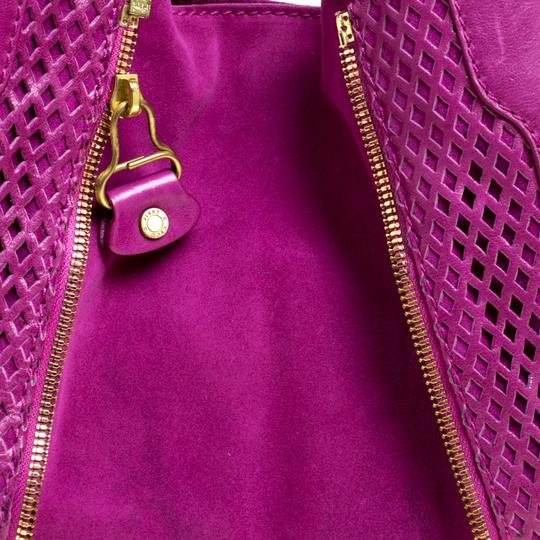Jimmy Choo Leather Suede Perforated Hobo Bag Image 9