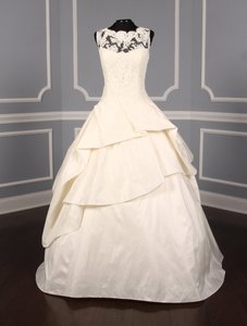 KENNETH POOL Ivory Alencon Lace / Silk Taffeta Ina K514 Formal Wedding Dress Size 8 (M)