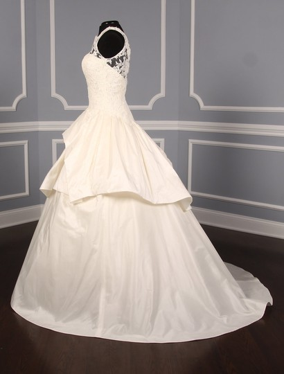 KENNETH POOL Ivory Alencon Lace / Silk Taffeta Ina K514 Formal Wedding Dress Size 8 (M) Image 4