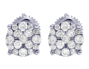 Jewelry Unlimited 10K White Gold Real Diamond Cluster Stud Earrings 0.50 CT 7MM