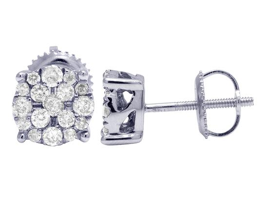 Jewelry Unlimited 10K White Gold Real Diamond Cluster Stud Earrings 0.50 CT 7MM Image 1