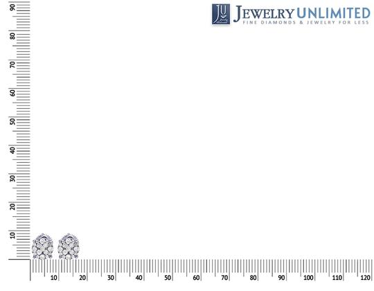 Jewelry Unlimited 10K White Gold Real Diamond Cluster Stud Earrings 0.50 CT 7MM Image 3