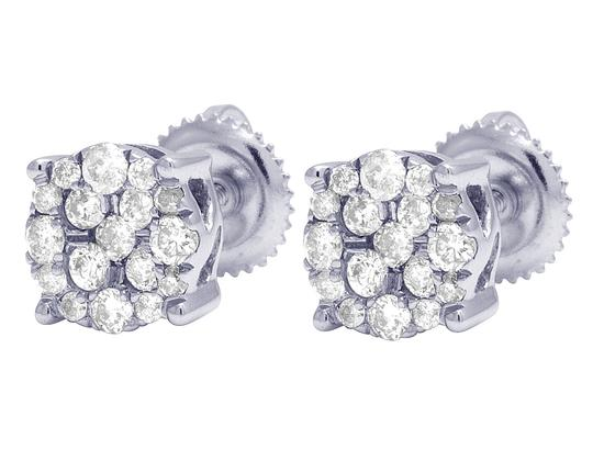Jewelry Unlimited 10K White Gold Real Diamond Cluster Stud Earrings 0.50 CT 7MM Image 4
