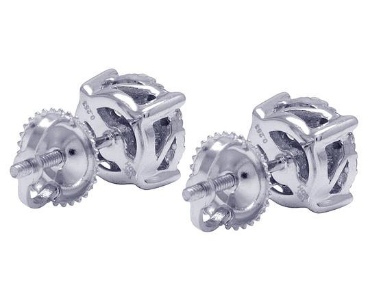 Jewelry Unlimited 10K White Gold Real Diamond Cluster Stud Earrings 0.50 CT 7MM Image 5