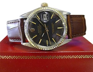 Rolex Mens Vintage Rolex Oyster Perpetual Datejust Steel Gold Black Dial Watch