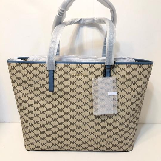 Michael Kors Large Canvas Continental Wallet Emry Tote in Natural / Denim Blue Image 1