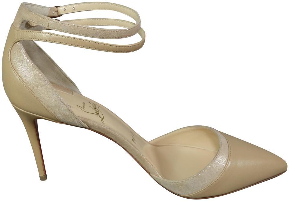 8912a81eee33 Christian Louboutin Beige Nude Uptown Double 85 Point Ankle Strap ...
