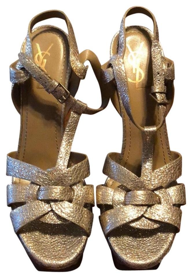 7896441f87d Saint Laurent Gold Tribute Ysl Metallic Heels Platforms Size US 11 ...