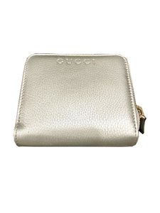 Gucci Gucci Women's Calf Leather French Flap Wallet Metallic Silver 346056