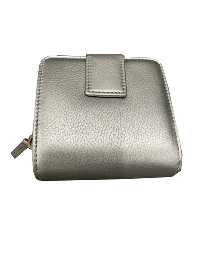 Gucci Gucci Women's Calf Leather French Flap Wallet Metallic Silver 346056 Image 1
