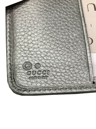 Gucci Gucci Women's Calf Leather French Flap Wallet Metallic Silver 346056 Image 3