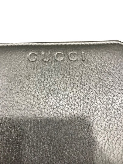 Gucci Gucci Women's Calf Leather French Flap Wallet Metallic Silver 346056 Image 4