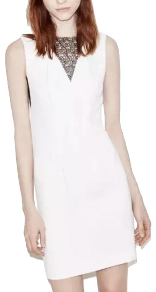5d27598259e The Kooples White and Black With Lace Panel Shift Sleeveless Night Out Dress