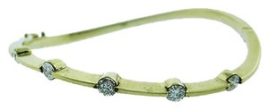 14k Yellow Gold Ladies Diamond Twisted Bracelet Bangle 1.00ct