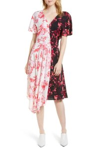 Lewit short dress Pink Black White Floral Silk on Tradesy