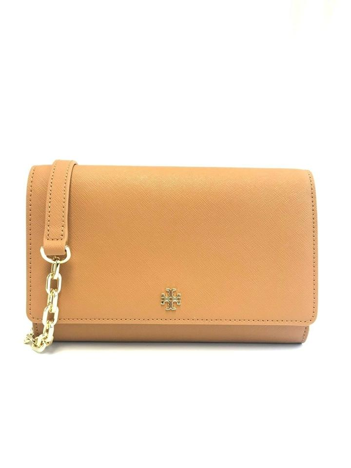 93344039b506 Tory Burch Robinson New Emerson Chain Wallet Cardamom Brown Leather Cross  Body Bag