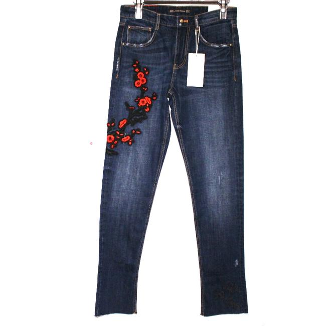 Zara Size 2 Embroidered Straight Leg Jeans-Medium Wash Image 3