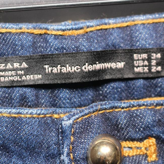 Zara Size 2 Embroidered Straight Leg Jeans-Medium Wash Image 6