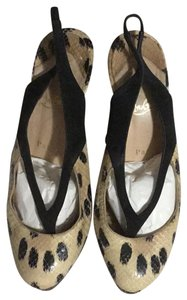 Christian Louboutin black, beige animal print Platforms