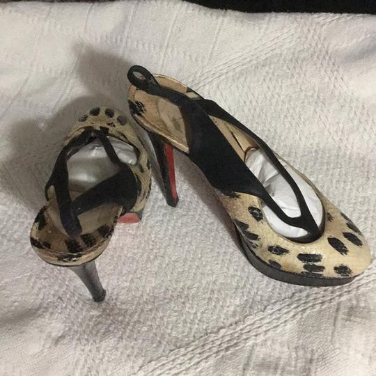 Christian Louboutin black, beige animal print Platforms Image 2